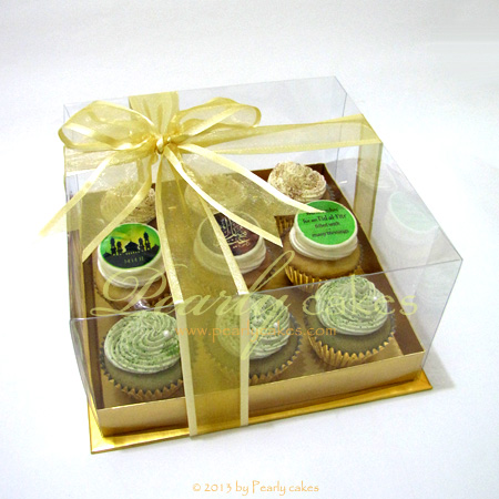 Lebaran Cupcakes in Gold Base Box